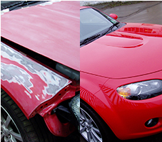 Red sports car repair