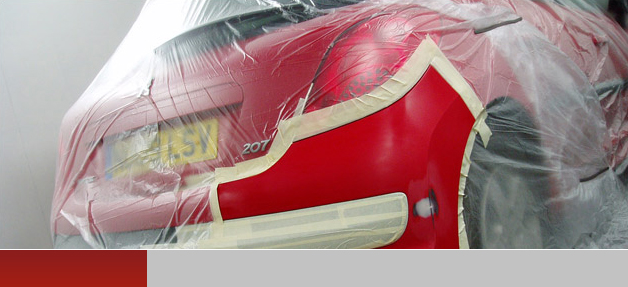 Bumper on red prepared to be resprayed