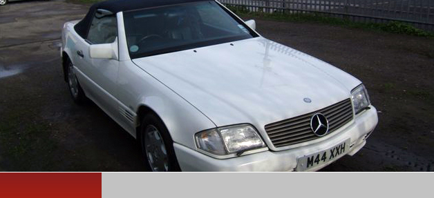 White Mercedes Benz convertible