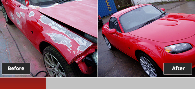 Mazda MX5 before and after repair